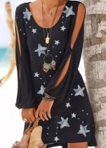Minivestido negro con estampado de estrellas y manga corta
