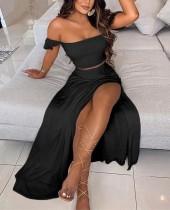 Summer Black Strapless Crop Top and Maxi Skirt Set