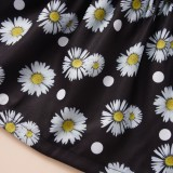 Minifalda negra floral para niños de verano para niña