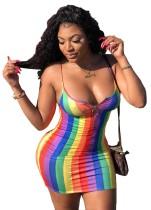 Mini vestido africano con correa de rayas coloridas sexy