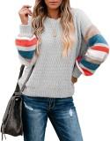 Otoño O-cuello rayas suéteres sueltos regulares