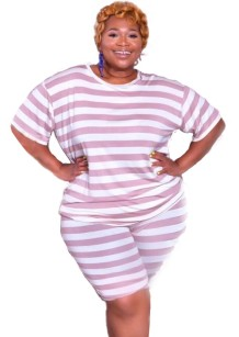 Plus Size Summer Striped Two Piece Shorts Set