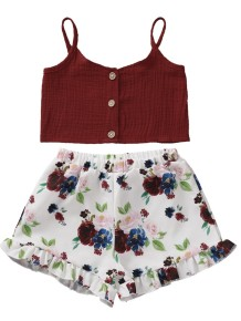 Kids Girl Summer Crop Top and Floral Shorts Set