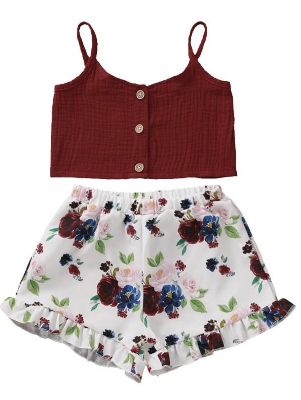 Conjunto de pantalón corto y top corto de verano para niña