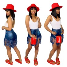 Stylish High Waist Tassels Denim Shorts