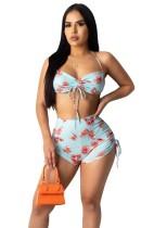 Conjunto de sujetador y shorts de bikini con estampado sexy