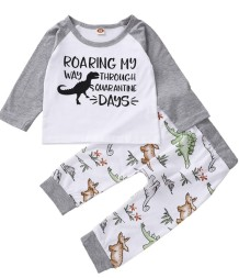 Kids Boy Autumn Print Two Piece Pants Pajama Set