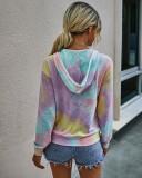 Sudadera con capucha y cremallera con efecto tie dye de otoño