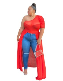 Plus Size One Shoulder Irregular Party Top