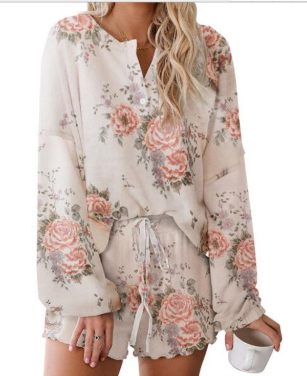 Conjunto de pijama de dos piezas Falls Flower Shorts