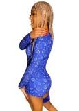 Mamelucos ajustados con estampado africano de manga larga