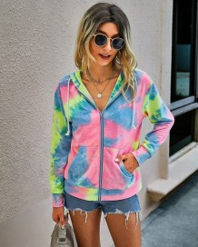 Autumn Tie Dye Zipped Hoody Sweat Shirt