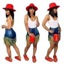 Pantalones cortos de mezclilla con borlas de cintura alta con estilo