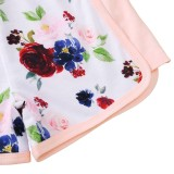 Conjunto de pantalones cortos florales de dos piezas para niños, verano, niña
