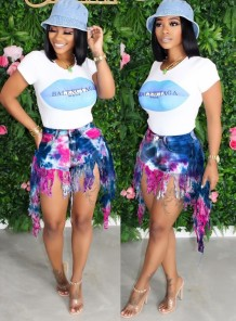 Tie Dye High Waist Tassels Denim Shorts
