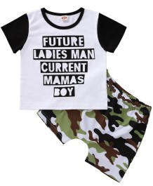 Kids Boy Summer Two Piece Camou Shorts Set