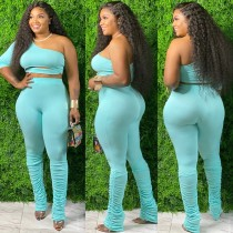 Plus Size Two Piece One Shoulder Stacked Pants Set