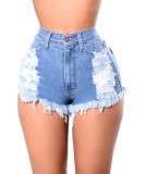 Pantalones cortos de mezclilla rasgados de cintura alta azul