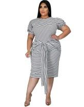 Plus Size Summer Striped Midi Dress with Belt