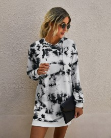 Autumn Tie Dye Fashion Hoody Dress