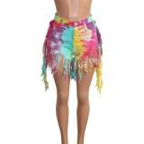 Tie Dye Shorts de mezclilla con borlas de cintura alta