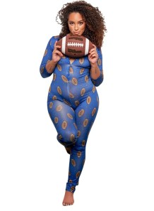 Plus Size Print Long Sleeve Bodycon Jumpsuit