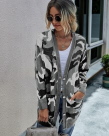 Autumn Leopard Long Pocket Sweater Coat