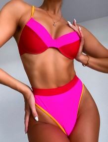 Contrast Two Piece High Waist Swimwear