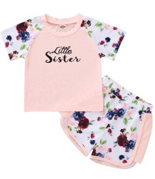 Kids Girl Summer Conjunto de Shorts Floral de Duas Peças