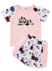 Kids Girl Summer Two Piece Floral Shorts Set