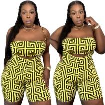 Plus Size Print Two Piece Suspender Shorts Set