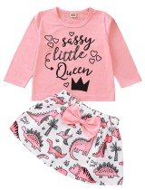 Kids Girl Autumn Print Zweiteiliges Rockset