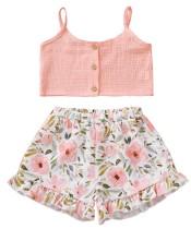 Top corto estivo e pantaloncini floreali per bambina