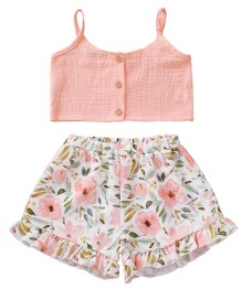 Kids Girl Summer Crop Top e Conjunto de Shorts Floral