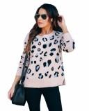 Jersey de leopardo con cuello redondo y caída