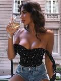 Top de tirantes atados con corazones vintage sexy