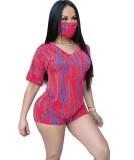Conjunto de pantalones cortos de verano de dos piezas Tie Dye con cubierta facial