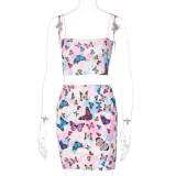 Conjunto de minifalda sexy de dos piezas con mariposa