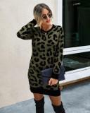 Vestido de punto con cuello redondo de leopardo de Falls