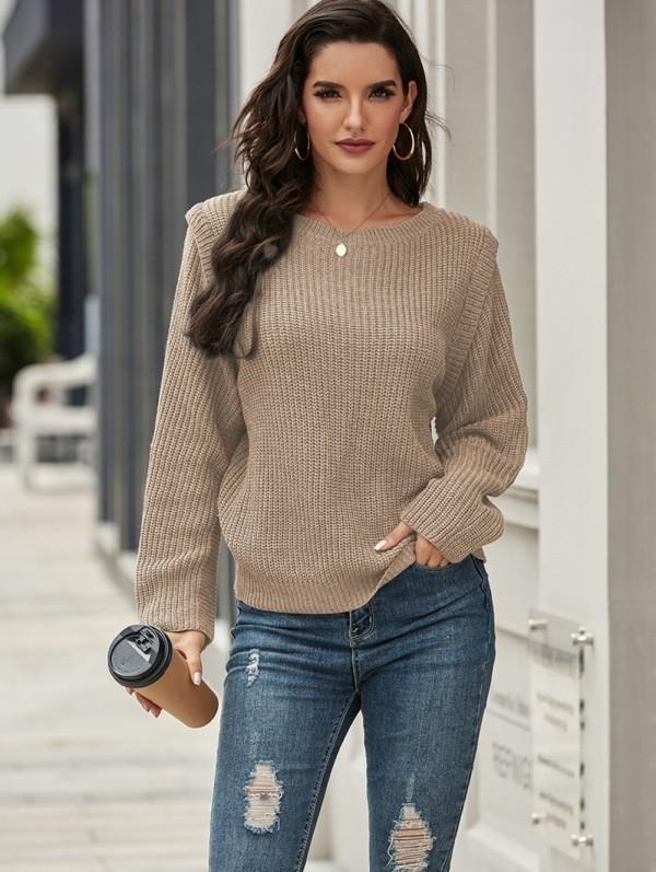 Suéter tipo jersey liso con cuello en O de otoño