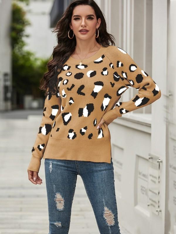 Otoño Regular O cuello suéter de leopardo