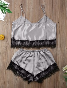 Summer Two Piece Satin Shorts Pajama Set with Lace Trims
