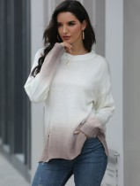 Fall Regular O Neck Gradient Knitted Top