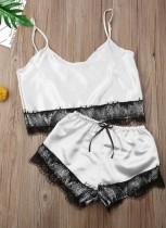 Sommer Zweiteiliges Satin Shorts Pyjama Set mit Spitzenbesätzen