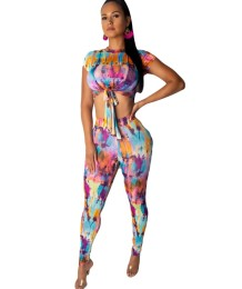 Sexy Tie Dye Bodycon Crop Top and Pants Set