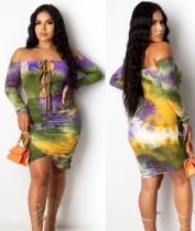 Sexy Tie Dye Off Schulter Unregelmäßiges Bodycon Kleid