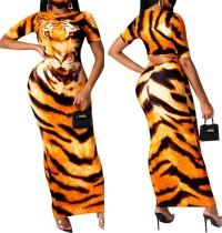 Vestido largo con estampado de tigre africano de verano