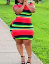 Vestido ajustado de rayas coloridas de verano de talla grande
