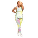 Sexy Tie Dye Knotted Shirt und Stacked Pants Set