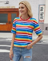 Sommer bunte Streifen Rundhals-Shirt